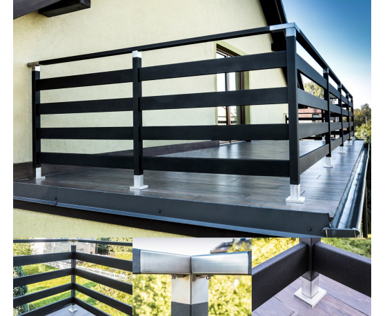 sch tzung gel nder aluminium pulvergemalt in holzoptik balkongel nder bausatz ebay. Black Bedroom Furniture Sets. Home Design Ideas