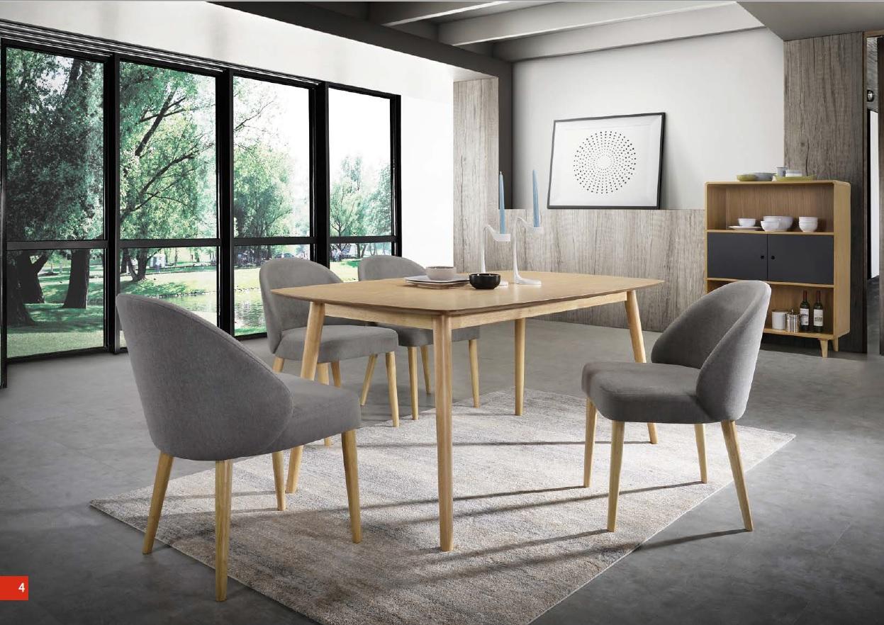 Dettagli su Tavolo da Pranzo Sala Rovere Sedie Imbottito Scandinava Grigio  Design