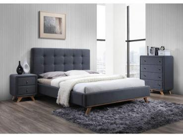 sellon 24 onlineshop polsterbett doppelbett stoffbett bettgestell 160 x 200 bett grau. Black Bedroom Furniture Sets. Home Design Ideas