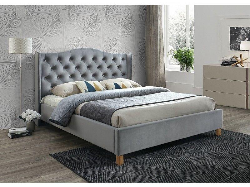 Polsterbett Doppelbett Grau Grün Stoff Samt 160x200 Schlafzimmer Bett  luxuriös