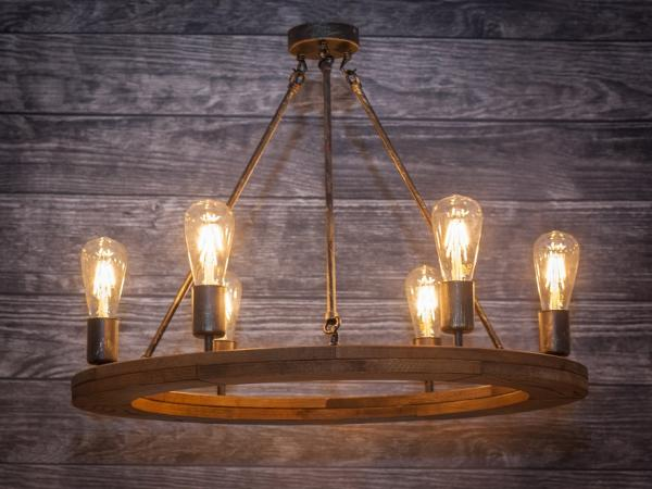 Massivholz Rechteck Hängelampe Holzrad Deckenlampe Hotel Gaststätte Rustikal